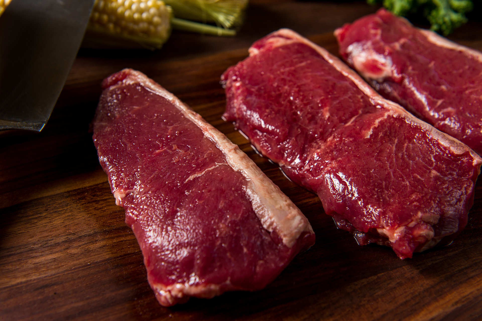 River Watch Beef Cuts - KC Strip Steak - 3 Steaks - Close Up