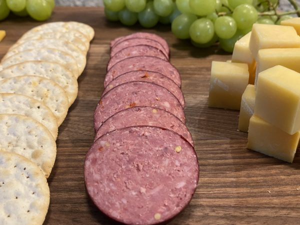 Beef Summer Sausage with Crackers and Cheese